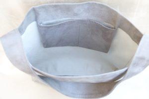 sac hobo bag suedine gris Aloée interieur