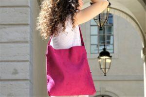 sac hobo bag suedine rose fuschia Aloée