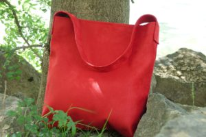 sac hobobag rouge suedine aloee exterieur