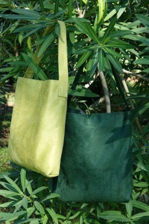 sac hobo bag suedine verts anis ou vert sapin Aloée