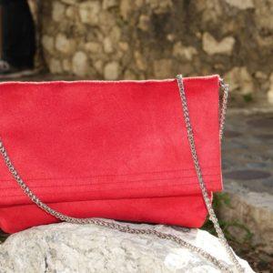 sac pochette rabat suédine rouge aloée