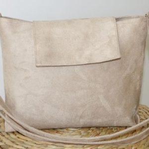 sac avec bandoulière et rabat beige sable
