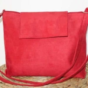 sac bandouliere rabat suedine rouge coquelicot aloee