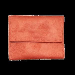 Pochette porte-monnaie suédine orange Aloée