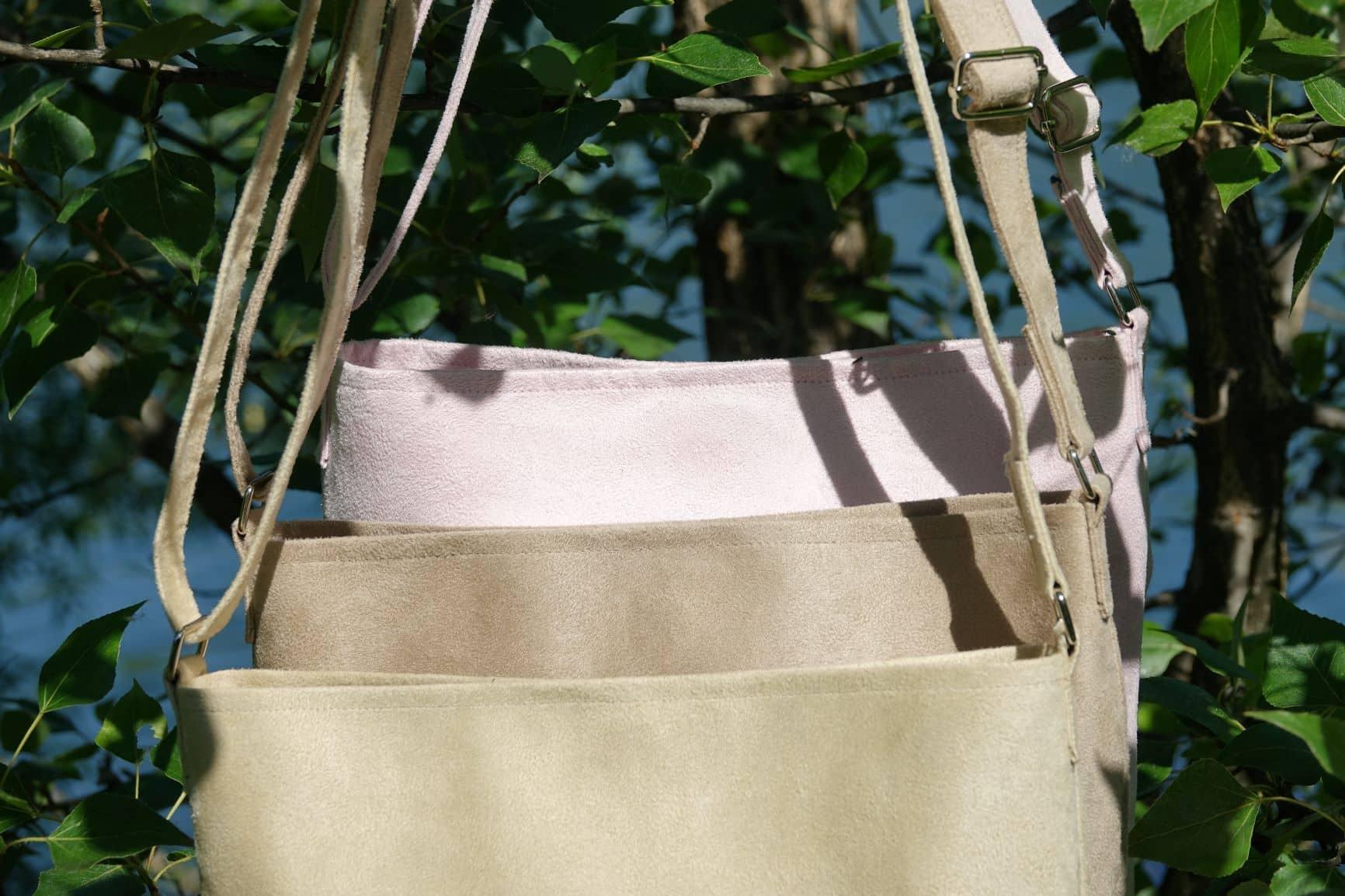 sac bandouliere suedine aloée