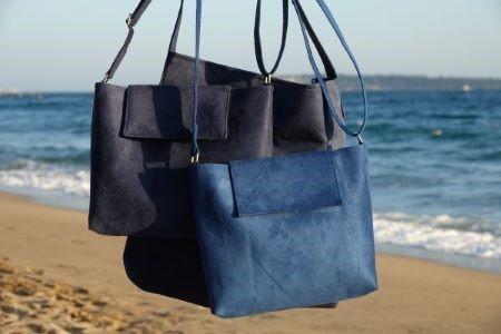 sac bandoulière suédine bleu Aloée