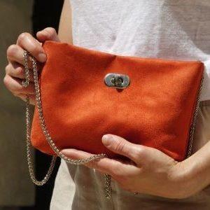 sac pochette suedine orange aloée