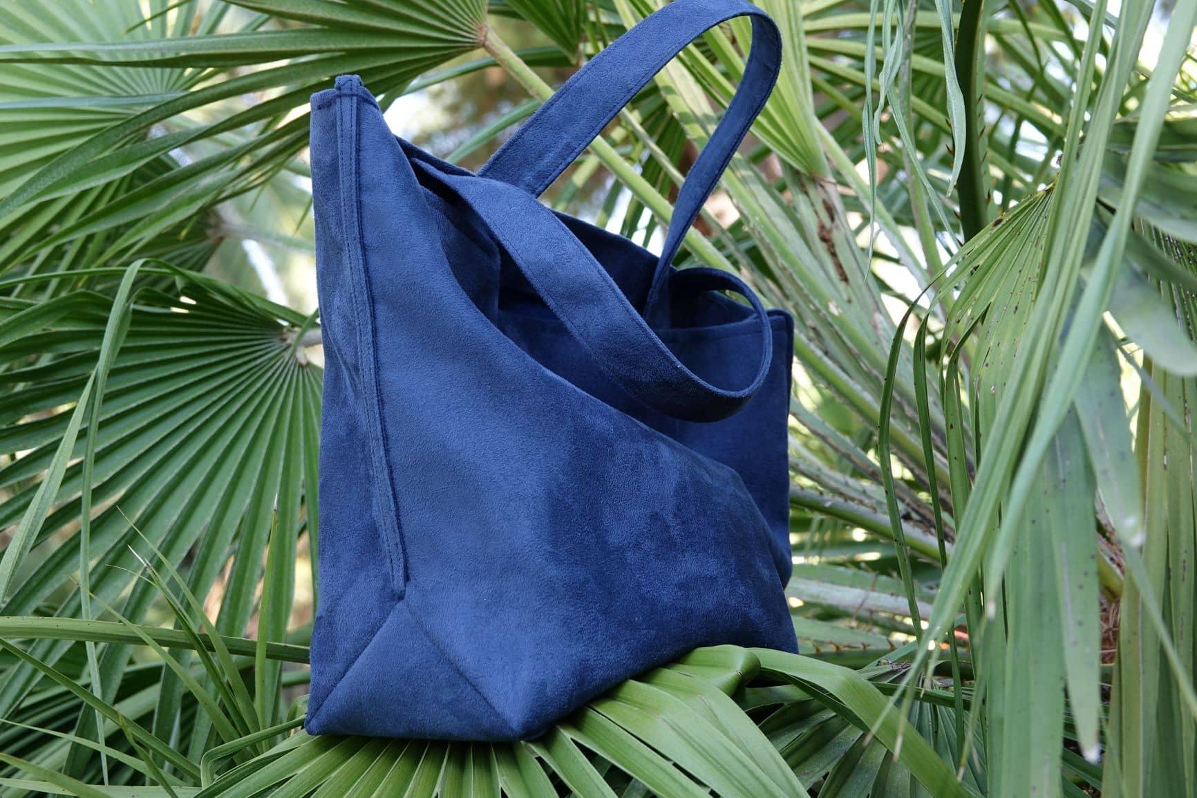 sac cabas suedine bleu marine aloee