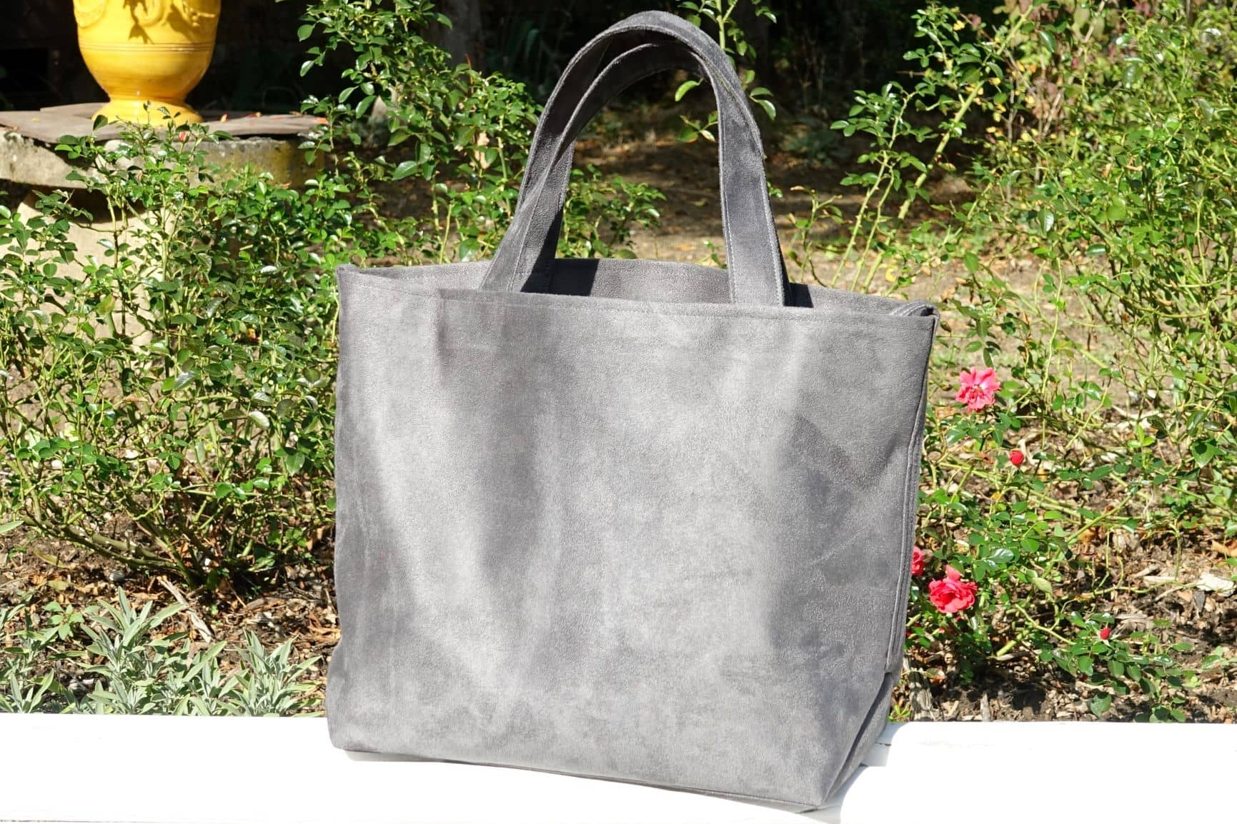 sac cabas suedine gris aloee
