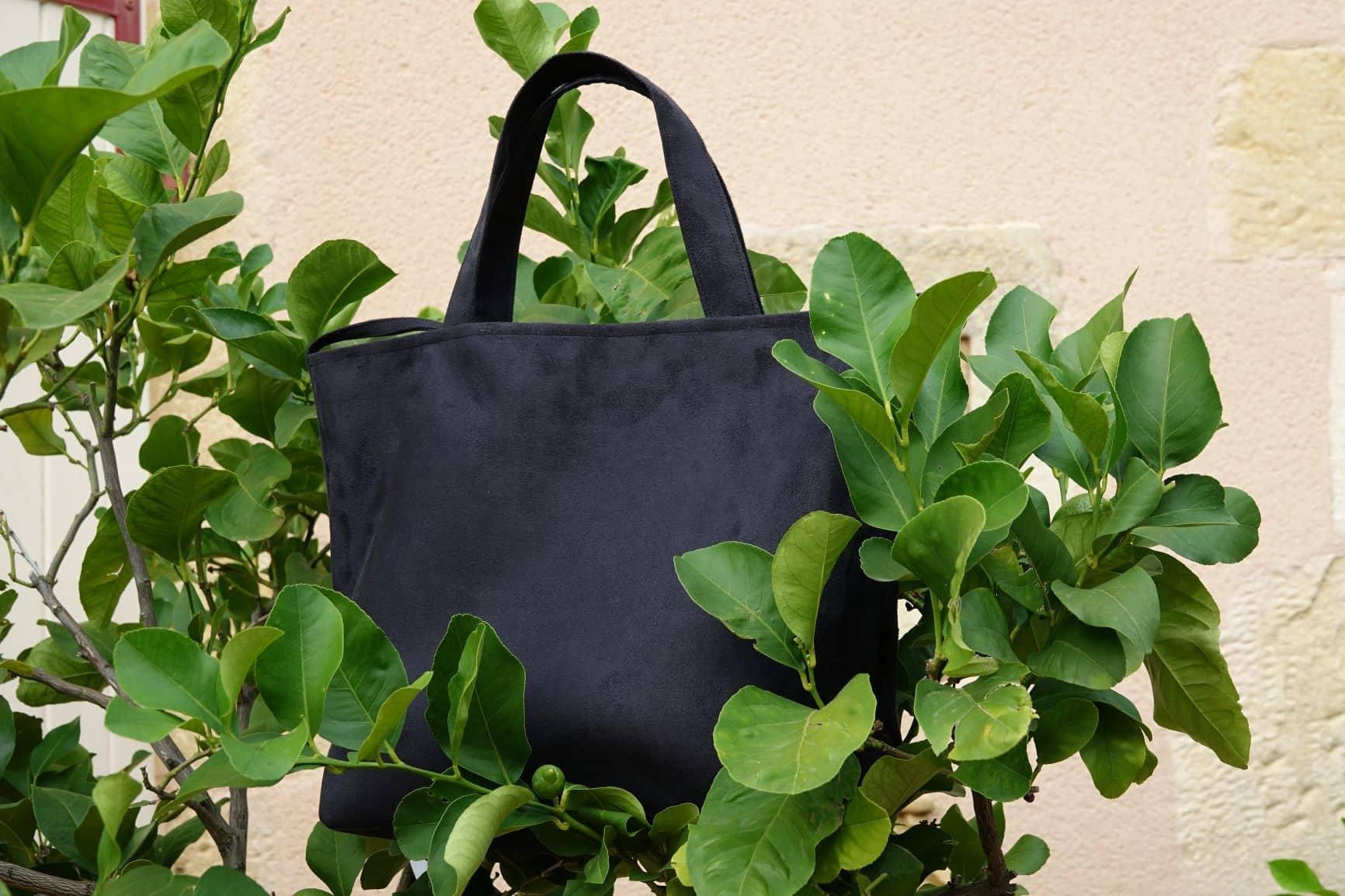 sac cabas suedine noir aloee