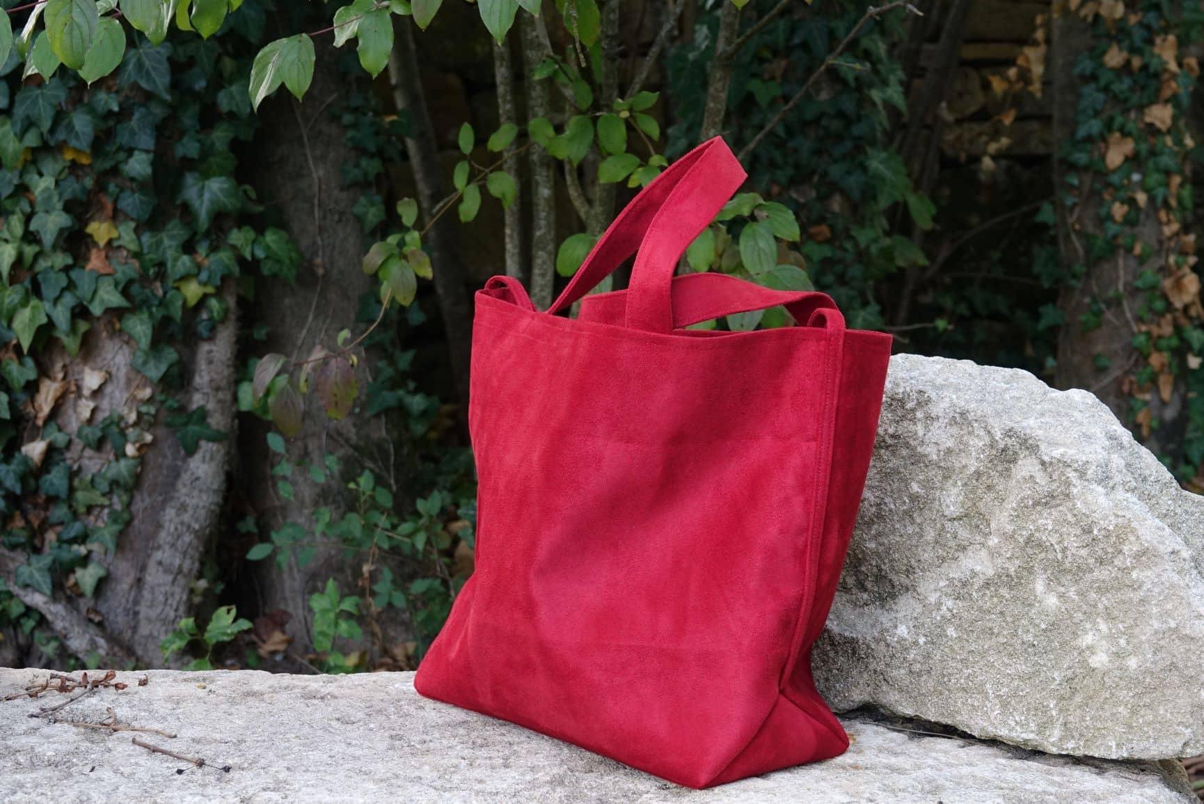 sac cabas suédine rouge Aloee